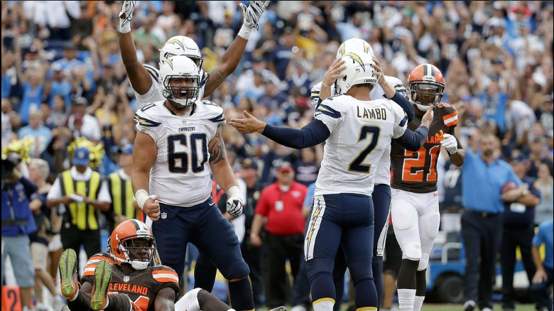 Josh Lambo's FG, Lifts Chargers Over Browns 30 27