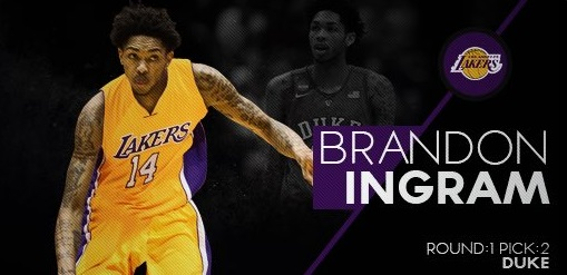 5bb3783452d According to the Los Angeles Lakers official Twitter account the club has  selected Brandon Ingram with the second pick of the NBA draft.